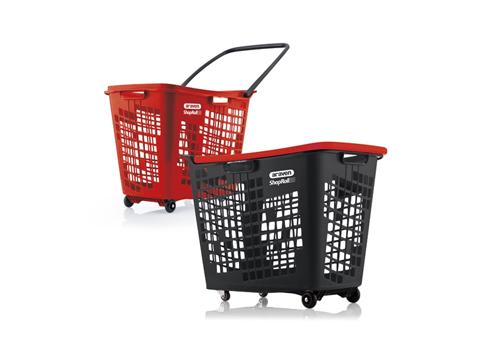 Кошница за пазаруване с колелца черна с цветни дръжки Araven SHOPROLL 55 L