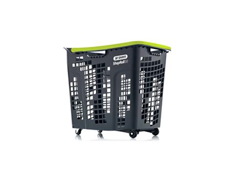 Кошница за пазаруване с колелца черна с цветни дръжки Araven SHOPROLL 80 L