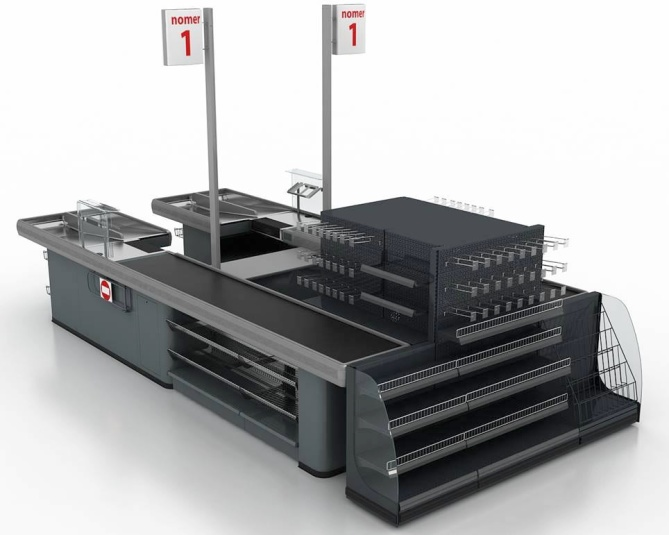 Касов модул с транспортна лента CLASSIC KB Twin (разположени успоредно два касови модула)