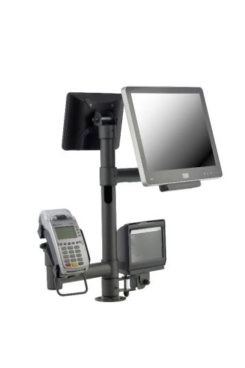 Стойка E-POLE за два монитора, банков терминал и стойка за скенер Magellan 3200