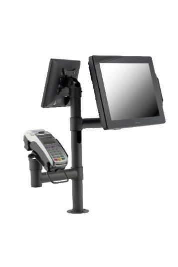 Стойка E-POLE за два монитора и банков терминал