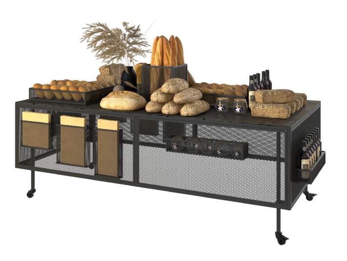 Дисплей-презентационна маса стелаж за хляб, хлебни изделия и печива Volokno Stil L ME