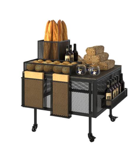 Дисплей-презентационна маса стелаж за хляб, хлебни изделия и печива Volokno Stil S ME