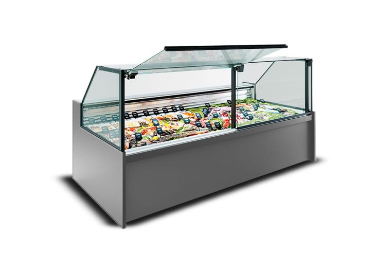 Хладилна витрина за риба и морски дарове със статично охлаждане MISSOURI MC 120 FISH PP/PS/SELF M/A с вграден агрегат/изнесен агрегат