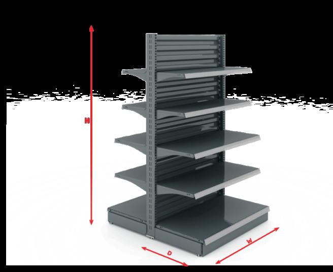 Стелажи за магазини система FS с общо средно гръбче