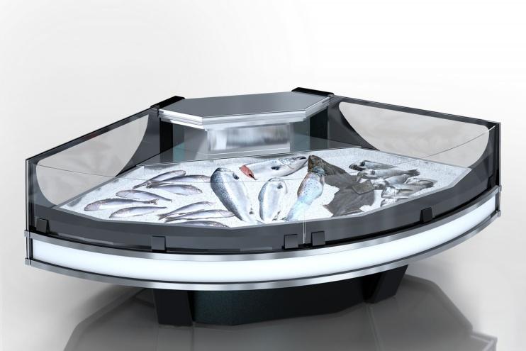 Неутрална витрина за риба и морски дарове MISSOURI COLD DIAMOND NC 125 ICE SELF – ъглов модул
