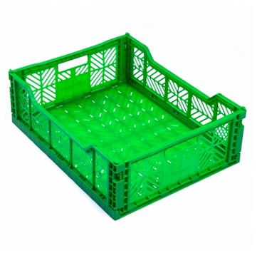 Сгъваема касетка за зеленчук - цвят зелен 60х40х15