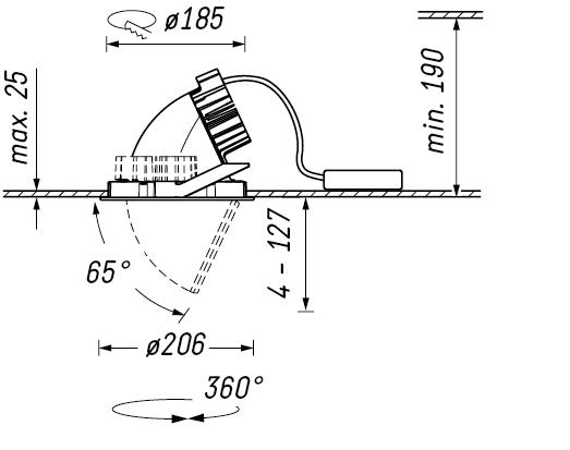LED осветително тяло за вграждане Ansorg Punta PLR