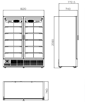 Вертикална хладилна витрина KIWI 1620 2D